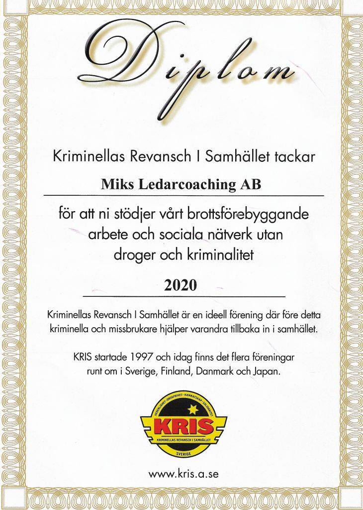 Diplom från Kris 2020.